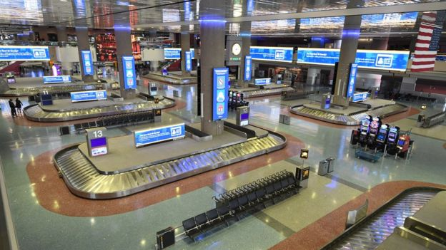 The nearly empty baggage claim area at McCarran International Airport in Las Vegas, Nevada, on 19 March 2020