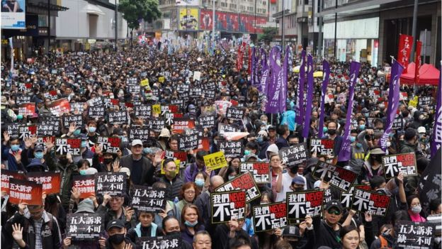 Tens of thousands of protesters marched in Hong Kong on January 1